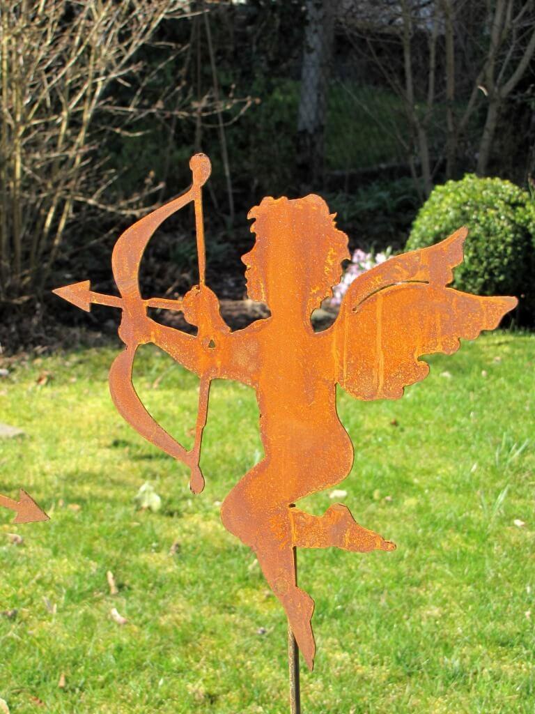 edelrost gartenstecker engel amor 2 angels garden dekoshop. Black Bedroom Furniture Sets. Home Design Ideas