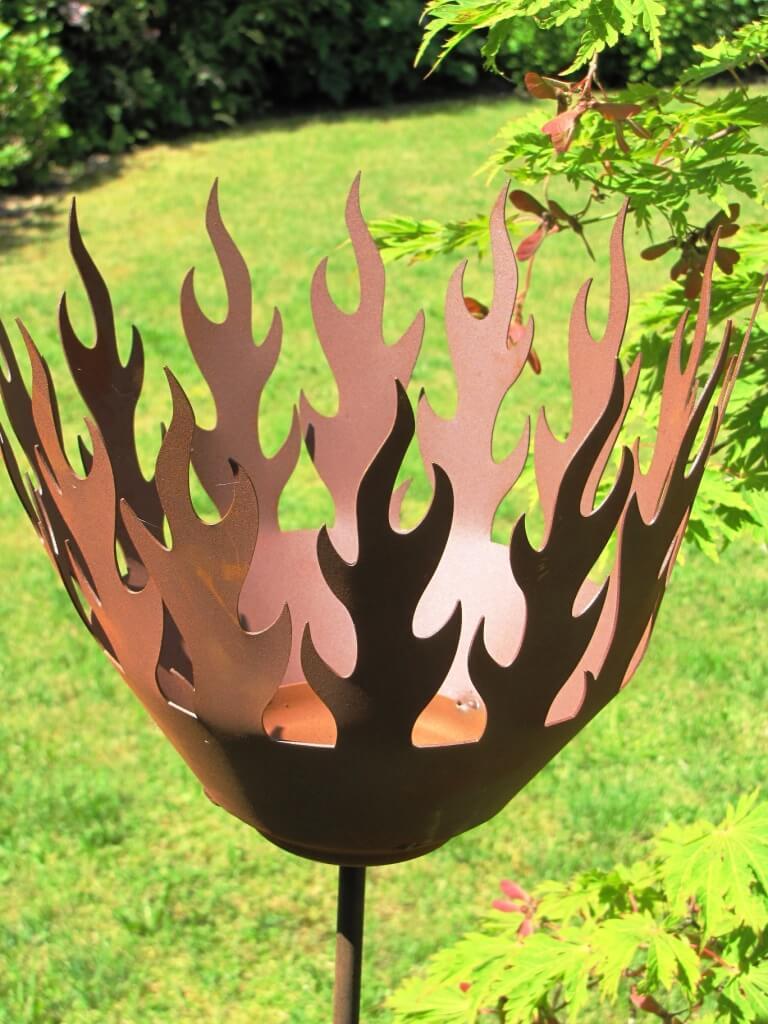 Edelrost gartenstecker fackelstab inkl brenndose metall for Edelrost gartenstecker