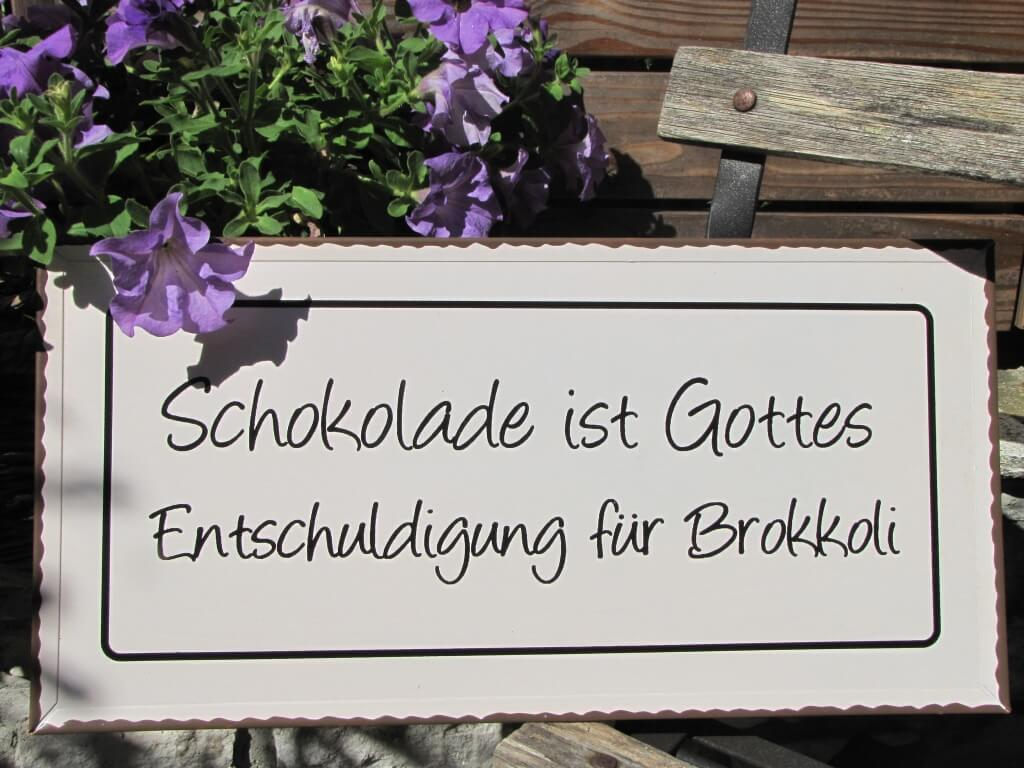 shabby chic metallspruchschild schokolade brokkoli metallschild lustige spr ch ebay. Black Bedroom Furniture Sets. Home Design Ideas