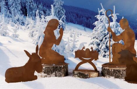 Set weihnachtskrippe gro aus edelrost angels garden for Edelrost figuren