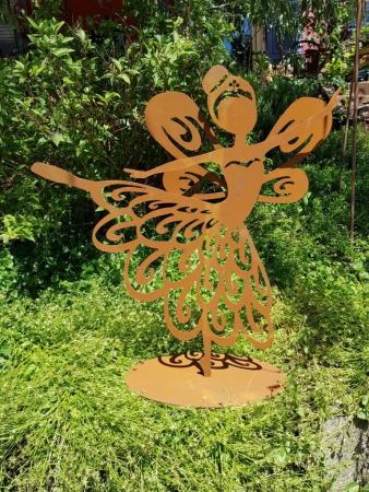 Gartenstecker Elfe Fee 70cm Metall Rost Gartendeko Edelrost Groß