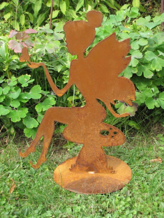Edelrost Elfe zum einhacken Fee Gartendekoration Kerze Rost Eisen Patina Herbst