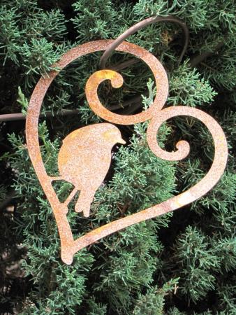 Herz Edelrost 2er Set Fensterschmuck Garten Dekoration Rost Deko Set Terrasse
