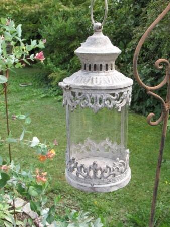 2er set shabby chic laternen rechteckig angels garden for Rostelemente garten