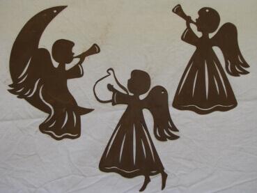 Fensterbild engel mit trompete aus edelrost angels for Engel edelrost