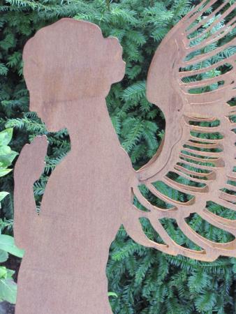Edelrost engel santine auf platte 140 cm angels garden for Engel edelrost