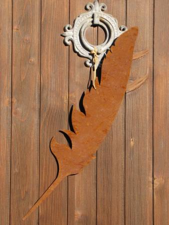 edelrost feder zum h ngen 60 cm angels garden dekoshop. Black Bedroom Furniture Sets. Home Design Ideas