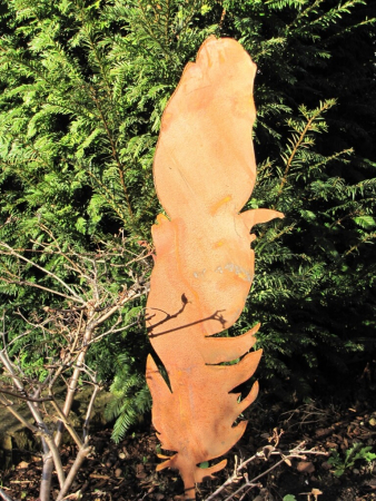Edelrost feder am stab variante b angels garden dekoshop for Edelrost gartenstecker