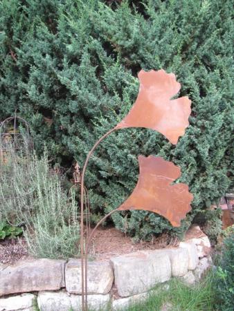 Edelrost dekos ule ginkgo 80 cm angels garden dekoshop for Rostelemente garten