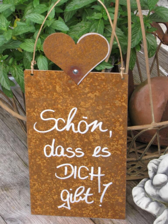 edelrost schild mit herz sch n dass es dich gibt angels garden dekoshop. Black Bedroom Furniture Sets. Home Design Ideas