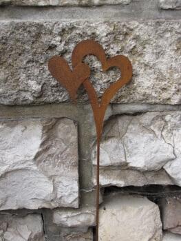 Gartenstecker 2er herz aus edelrost angels garden dekoshop for Rostige herzen gartendeko