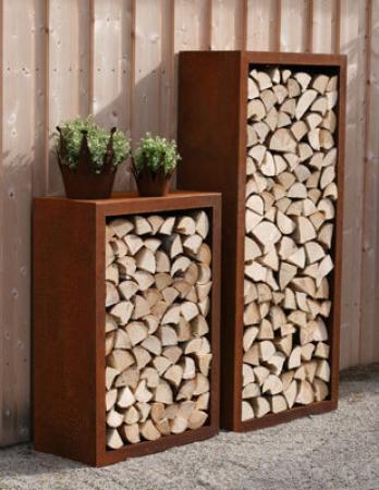 Holzaufbewahrung Außen kaminholzregale aus metall und edelrost garden dekoshop