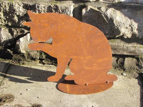 Gartenstecker 3 Katzen NEU aus Metall in braun AUSSTELLER