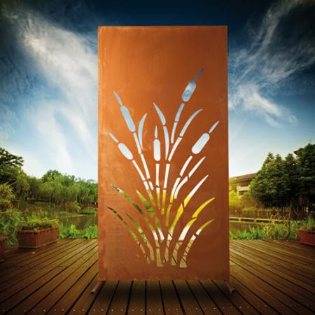 edelrost sichtschutzwand schilf angels garden dekoshop. Black Bedroom Furniture Sets. Home Design Ideas