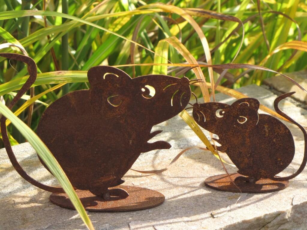 2er set m use aus edelrost angels garden dekoshop for Tiere aus edelrost