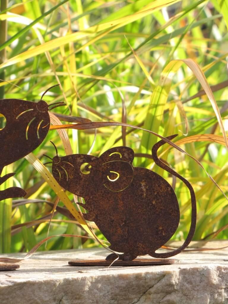 2er set m use aus edelrost angels garden dekoshop for Edelrost tiere