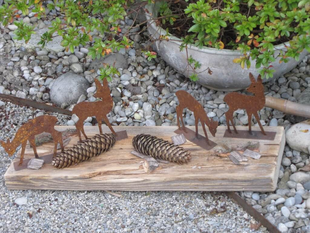 4er set edelrost rehe auf holzplatte angels garden dekoshop for Rostfiguren tiere
