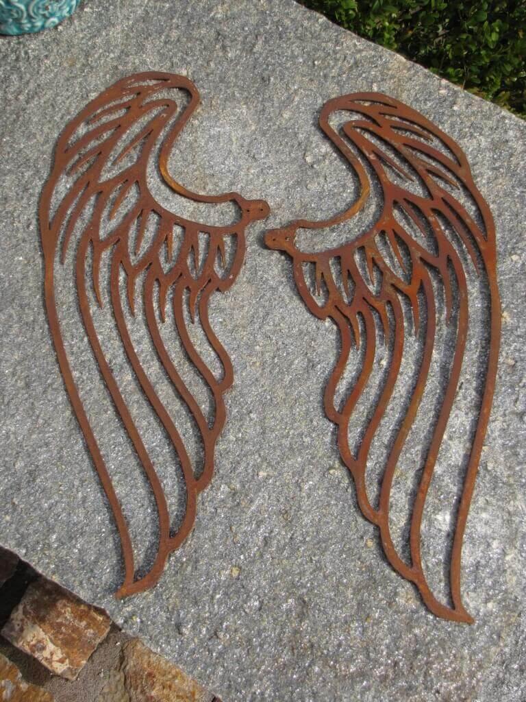 Edelrost Engelsflügel filigran zum Schrauben 40 cm Gartendeko Rost Deko Engel