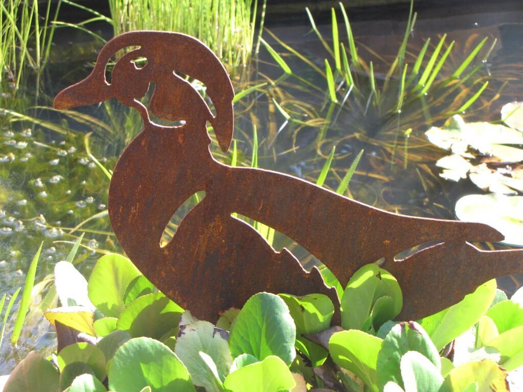 Edelrost ente zum stecken angels garden dekoshop for Edelrost tiere