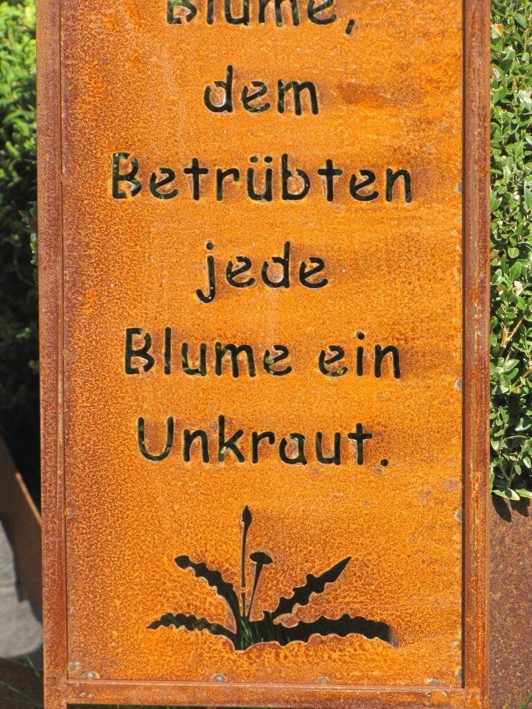 Edelrost Gartenschild Unkraut Blume Angels Garden Dekoshop