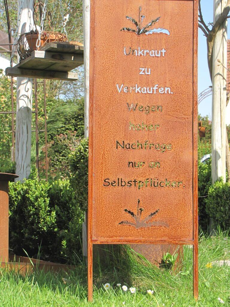 Edelrost Gartenschild Unkraut Zu Verkaufen Angels Garden Dekoshop