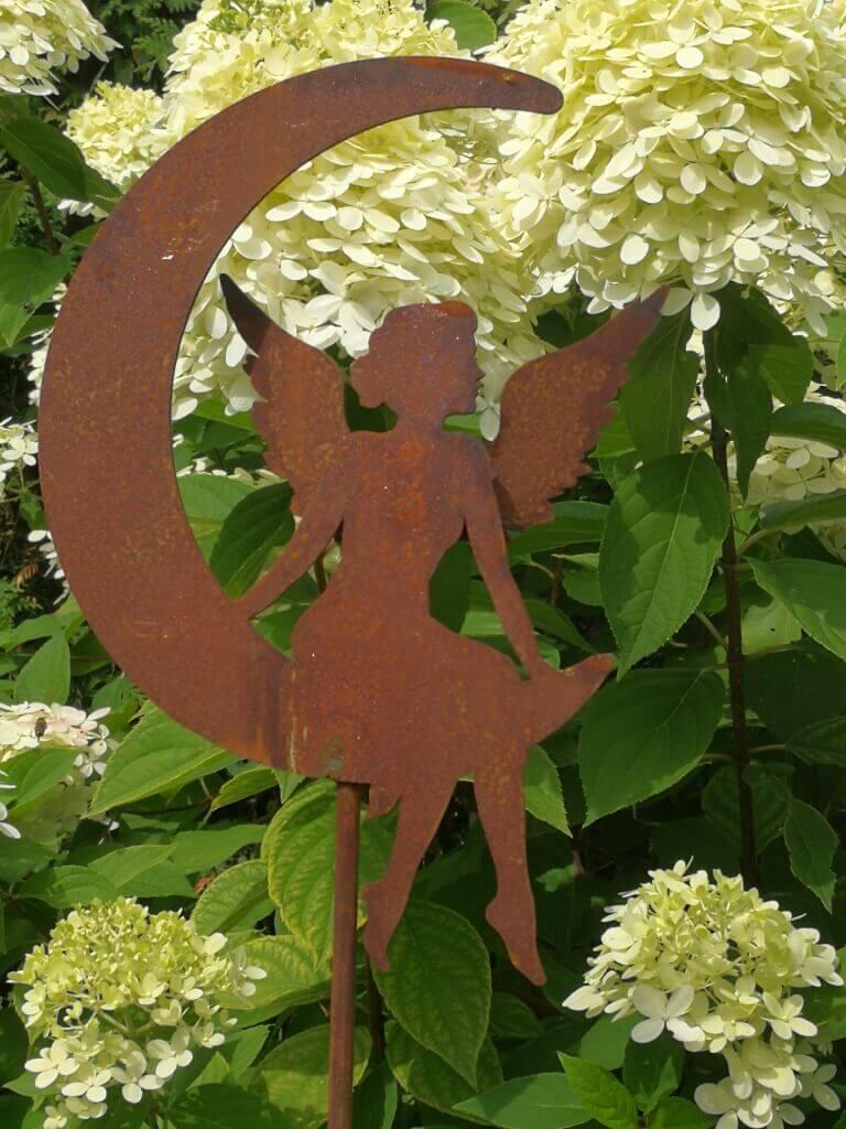 Edelrost Gartenstecker Engel im Mond, 20 cm - Angels ...