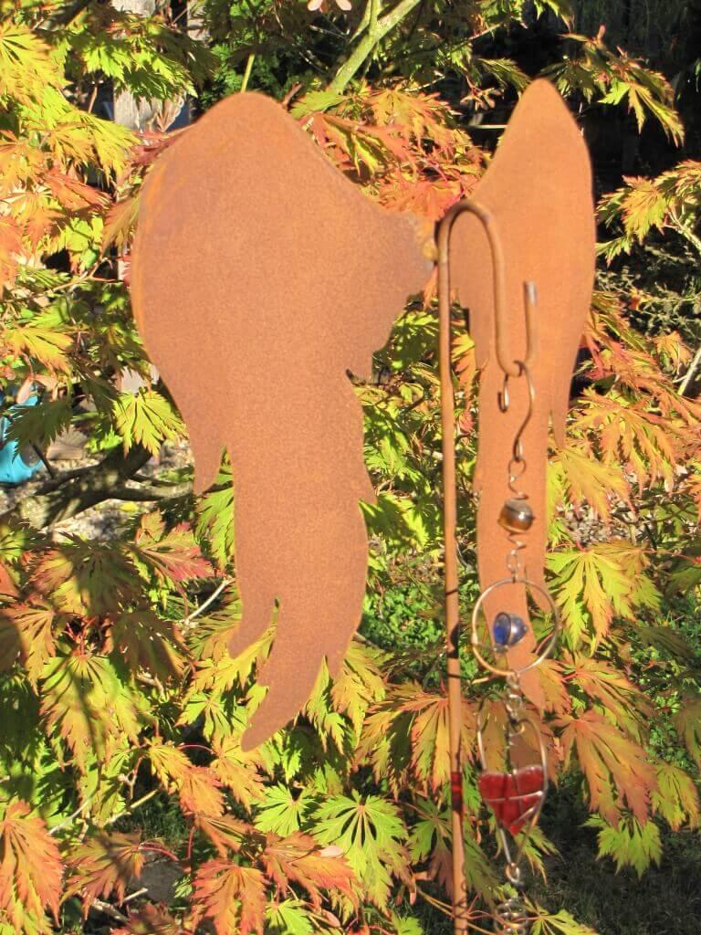 Edelrost Gartenstecker Ampelhalter Engelsflügel nach unten ...