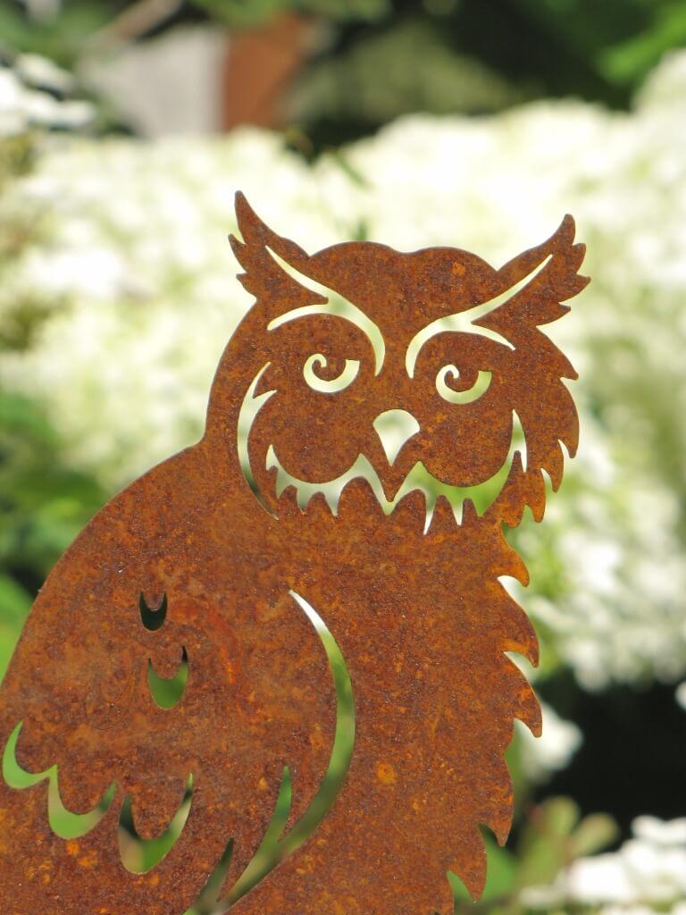 Edelrost gartenstecker eule carla angels garden dekoshop for Edelrost gartenstecker