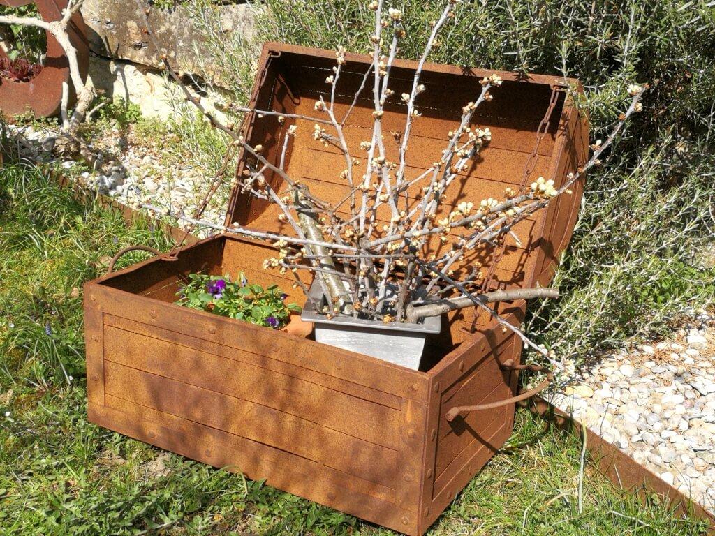 Edelrost Blumenkasten Truhe - Angels Garden Dekoshop