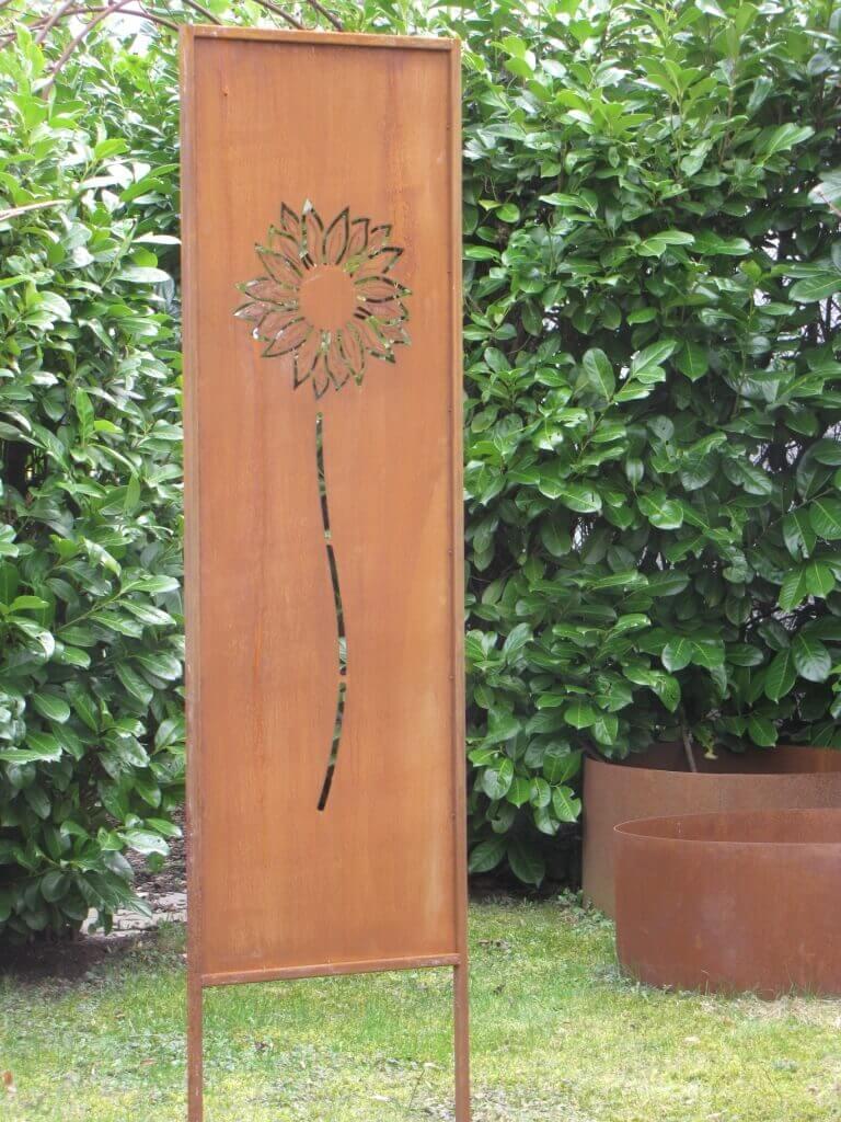 Edelrost Sichtschutz Paravent Sonnenblume Angels Garden Dekoshop