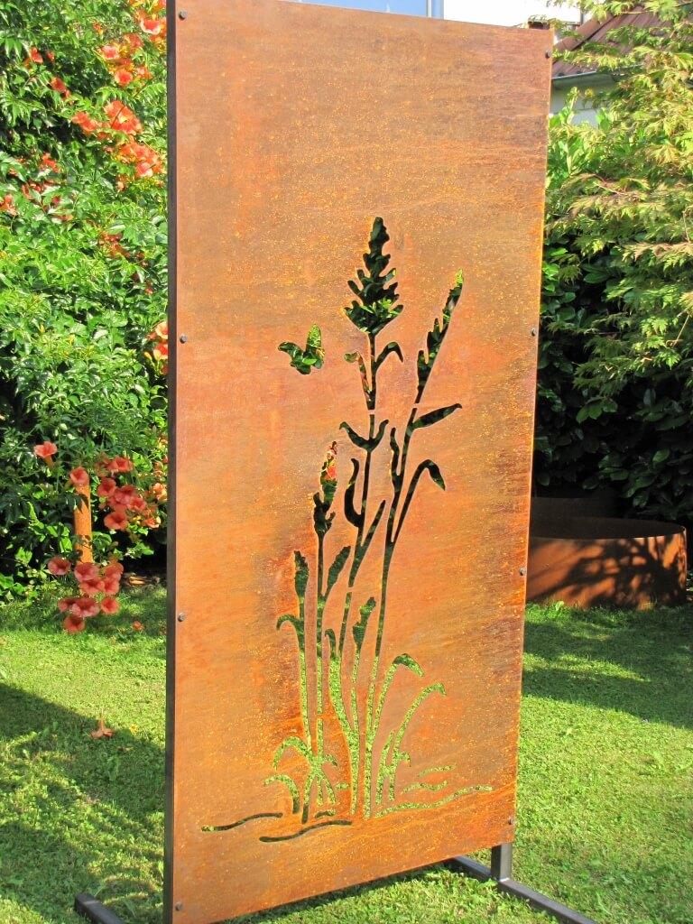 Edelrost Sichtschutzwand Gräser 2 - Angels Garden Dekoshop