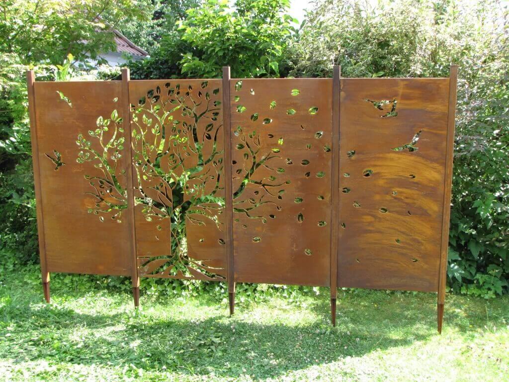 edelrost sichtschutzwand baum, 4-teilig - angels garden dekoshop