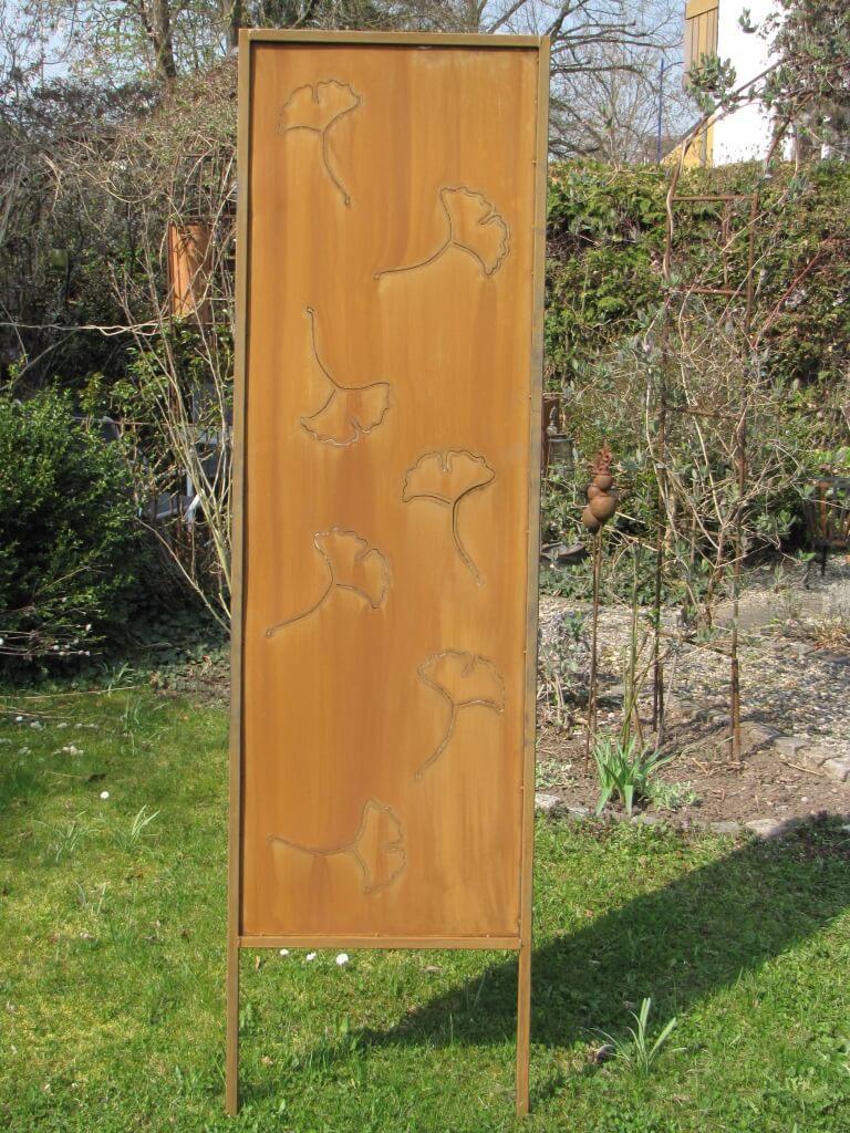 Edelrost Sichtschutz Paravent Ginkgo - Angels Garden Dekoshop
