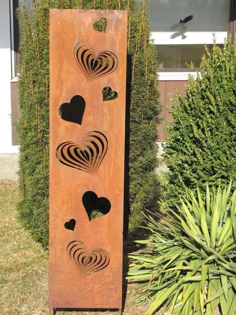 edelrost sichtschutz paravent herzen zum drehen angels garden dekoshop. Black Bedroom Furniture Sets. Home Design Ideas