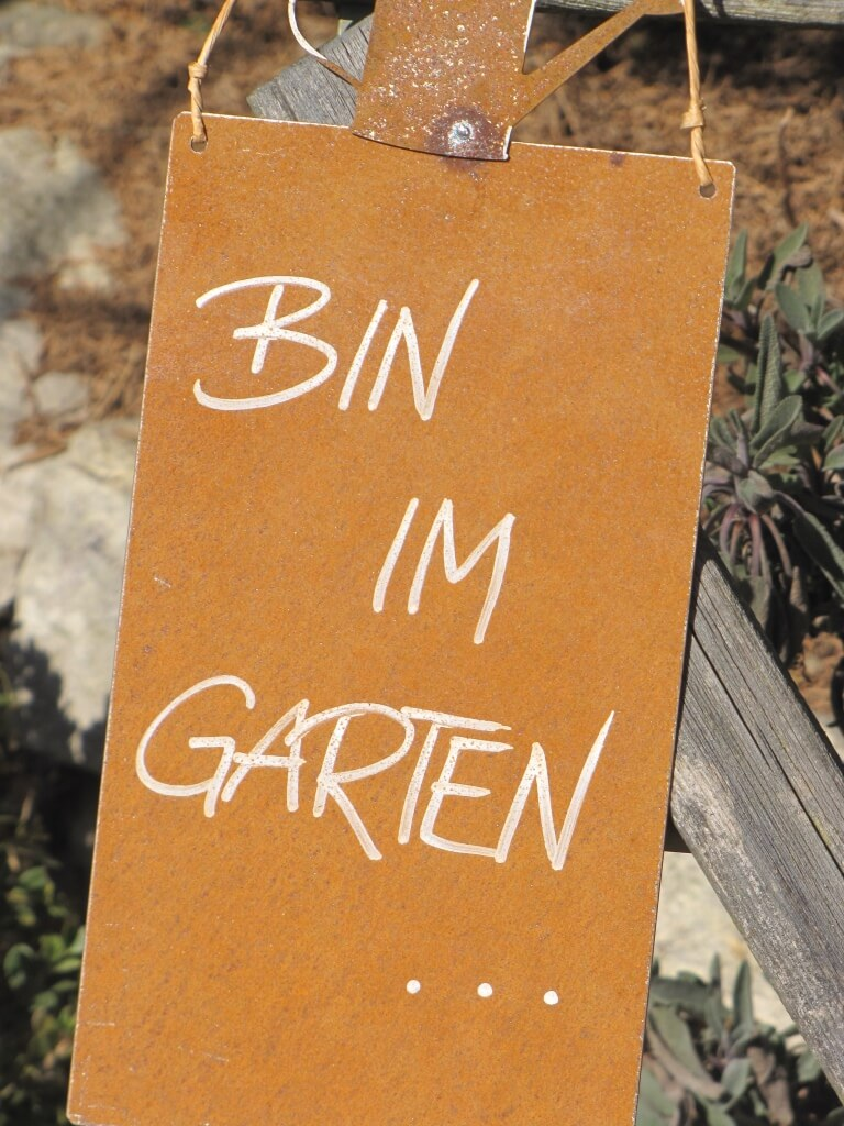 edelrost schild mit gie kanne bin im garten angels garden dekoshop. Black Bedroom Furniture Sets. Home Design Ideas