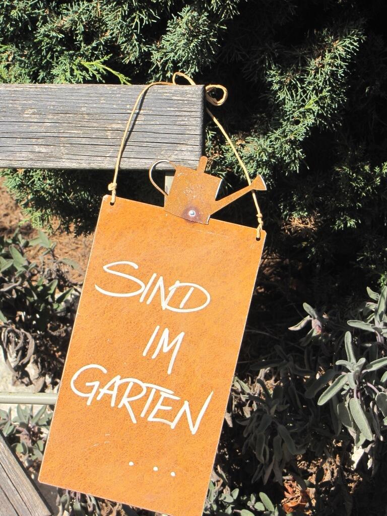 Edelrost Schild Mit Gießkanne Sind Im Garten Angels Garden Dekoshop