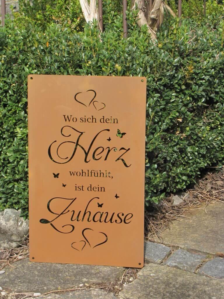 Edelrost Gartenschild lächelndes Zuhause Spruchschild Wandtafel Metallschild