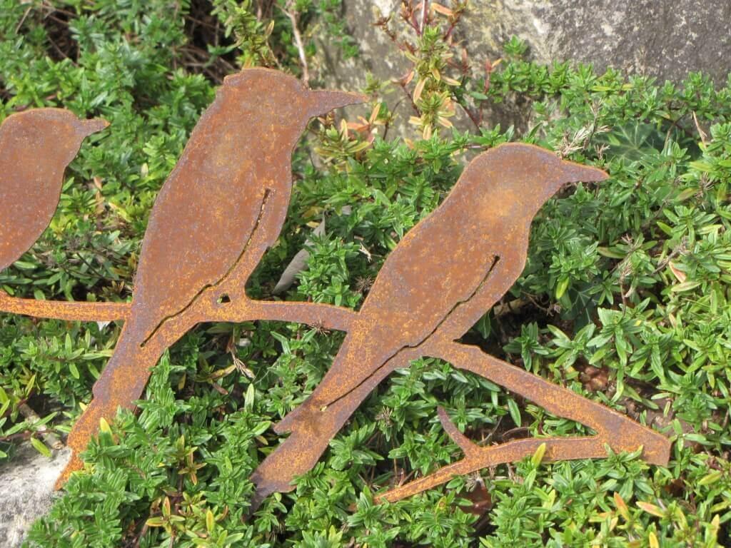 edelrost vögel auf ast - angels garden dekoshop