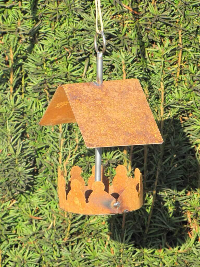 edelrost vogelhaus zum h ngen klein angels garden dekoshop. Black Bedroom Furniture Sets. Home Design Ideas