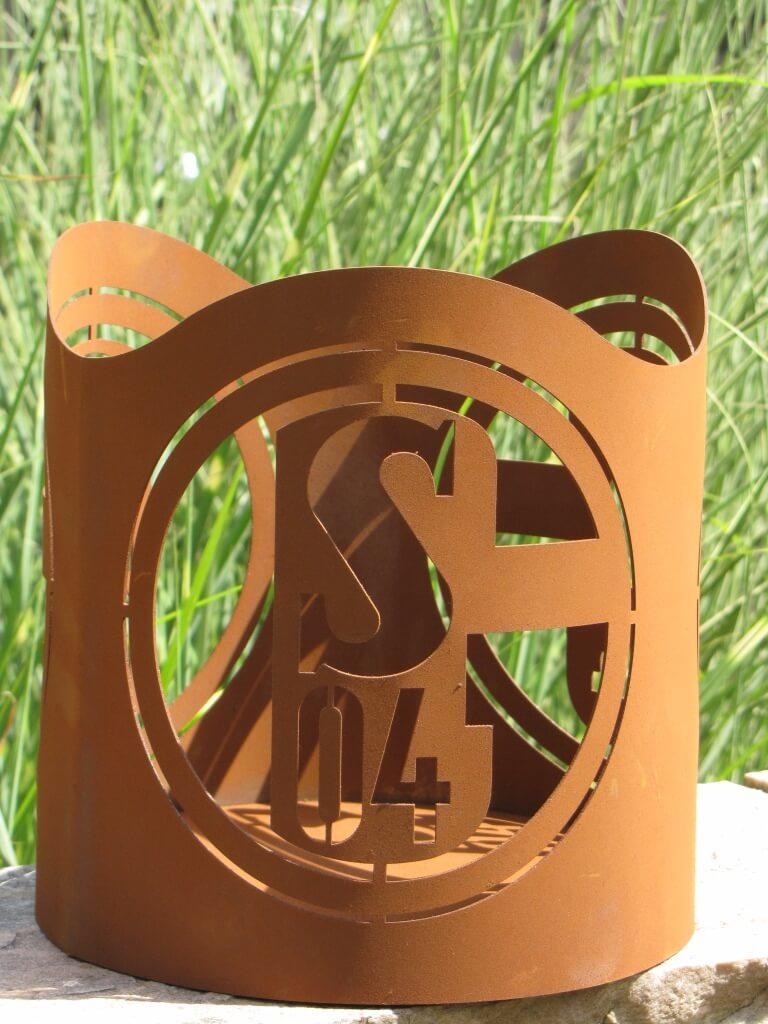 FC Schalke 04 Windlicht S04-010 Schalke Logo Ferrum Art Edelrost Deko S04