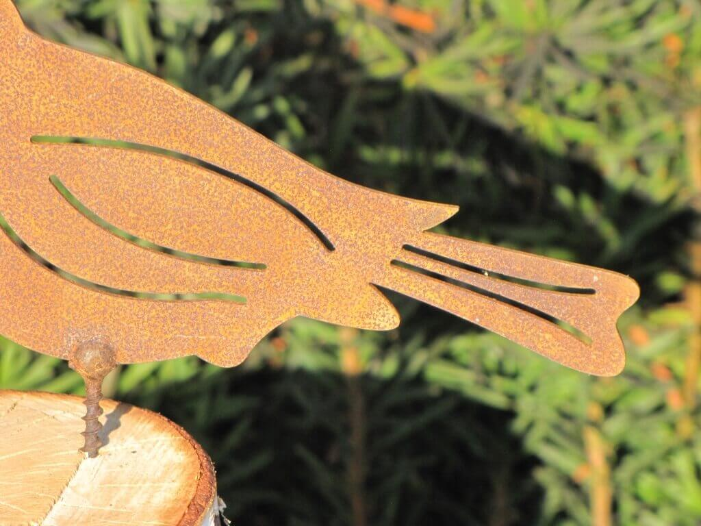 Edelrost Kelchblüte auf Schraube für Holz 20 x 20 cm Windlicht Blume