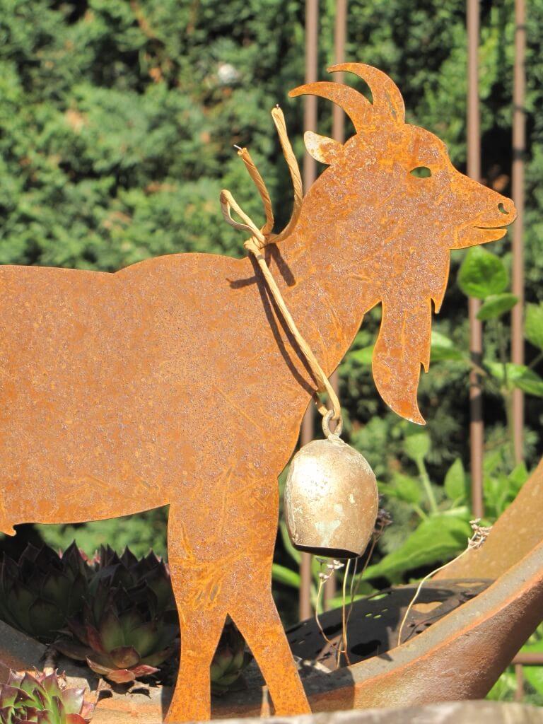 Edelrost ziegenbock auf platte angels garden dekoshop for Tiere aus edelrost