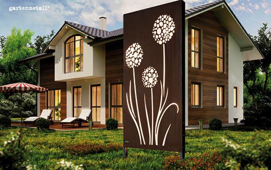 Cortenstahl sichtschutzwand pusteblume in edelrost 100 cm for Cortenstahl gartendeko
