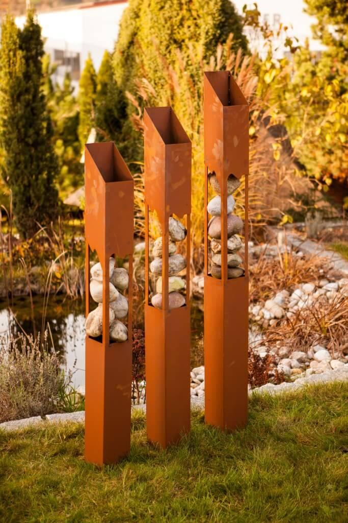 Dekos ule modernes trio aus edelrost angels garden dekoshop for Deko aus edelrost
