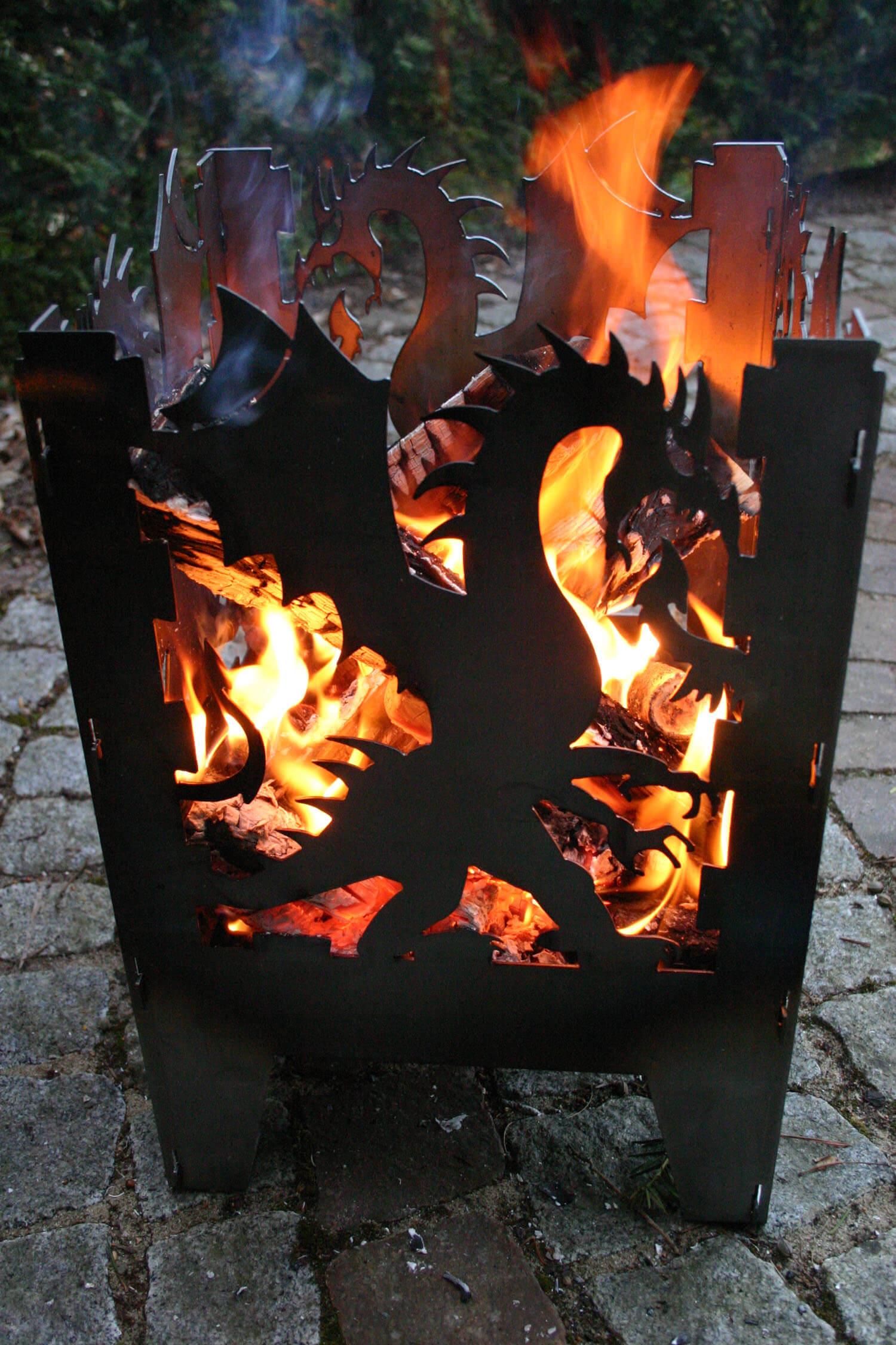 design feuerkorb drache 2 gr en metall feuerstelle brenntopf feuerschale ebay. Black Bedroom Furniture Sets. Home Design Ideas