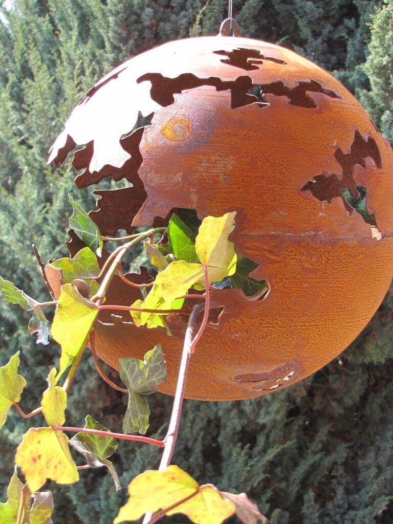 edelrost kugel riss zum h ngen 30 cm metall windlicht laterne ebay. Black Bedroom Furniture Sets. Home Design Ideas