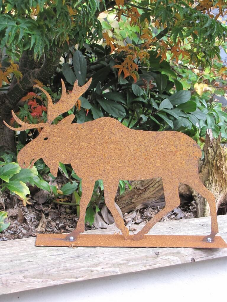 Edelrost elch auf platte angels garden dekoshop for Edelrost tiere