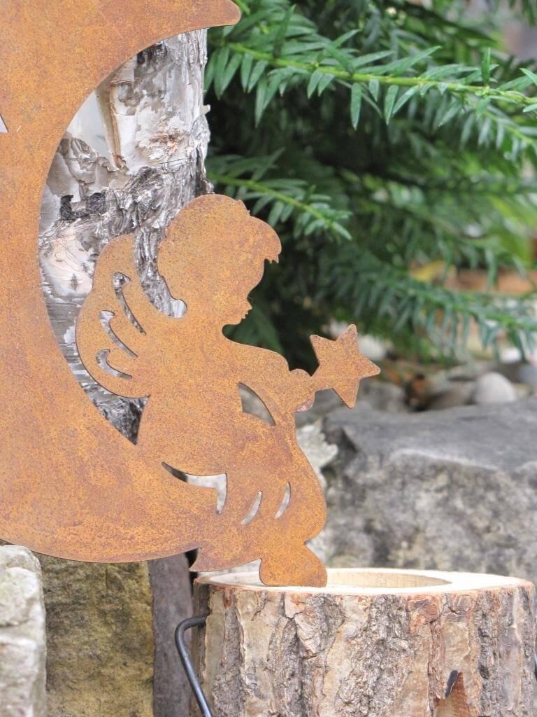 Edelrost fensterbild engel im mond angels garden dekoshop for Engel edelrost