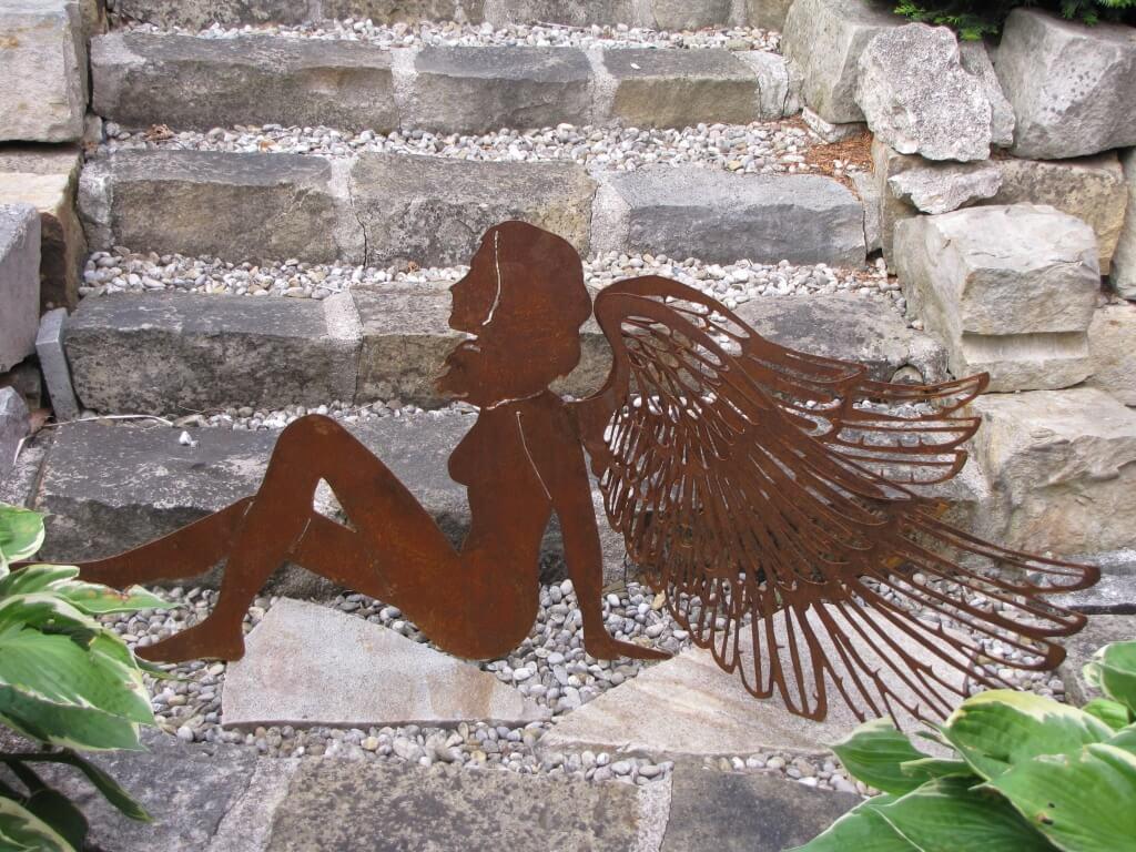 Edelrost engel mit doppelfl geln 120 cm angels garden for Engel edelrost