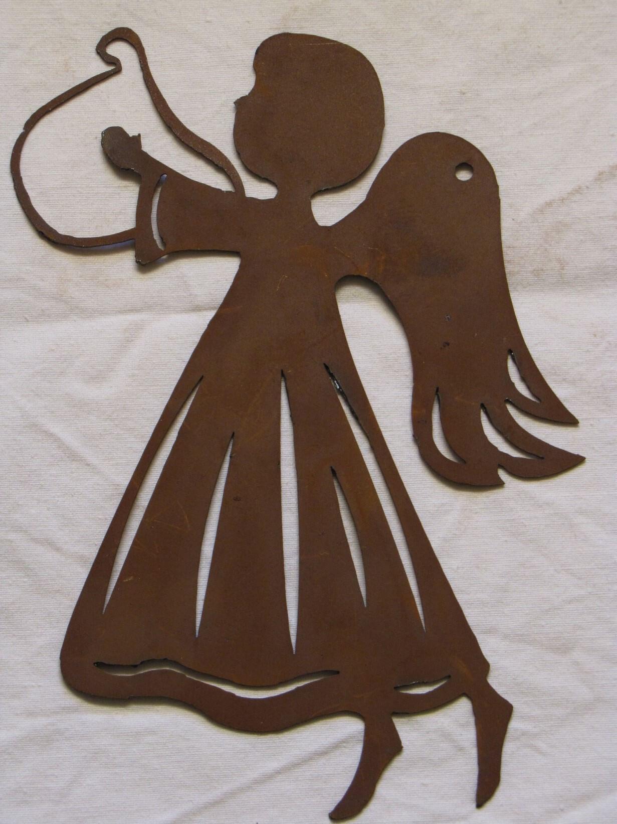 Fensterbild engel mit harfe aus edelrost angels garden for Engel edelrost
